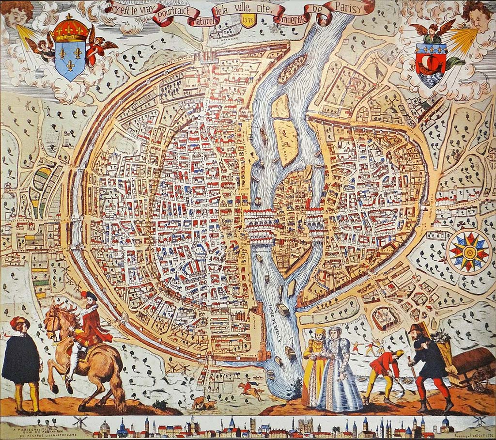 Paris Map from 1576 by Dalbera